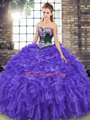 Sweep Train Ball Gowns Ball Gown Prom Dress Purple Sweetheart Organza Sleeveless Lace Up