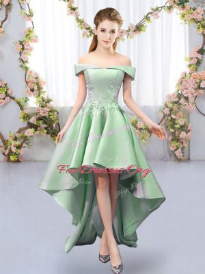 Elegant Green Satin Lace Up Wedding Guest Dresses Sleeveless High Low Appliques