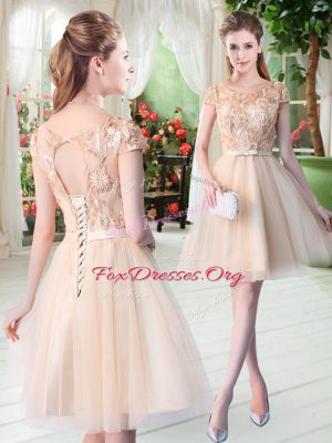 Scoop Short Sleeves Tulle Dress for Prom Appliques Lace Up