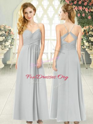 Perfect Grey Chiffon Criss Cross Spaghetti Straps Sleeveless Ankle Length Dress for Prom Ruching