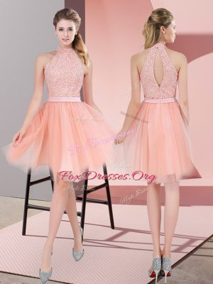 Peach High-neck Neckline Beading Dress for Prom Sleeveless Zipper