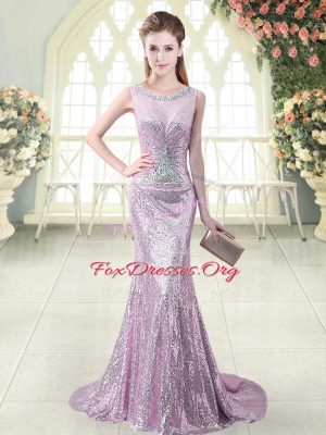 Lilac Mermaid Sequined Scoop Sleeveless Beading and Sequins Zipper Prom Evening Gown Brush Train