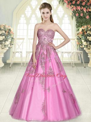 Suitable A-line Formal Dresses Rose Pink Sweetheart Tulle Sleeveless Floor Length Lace Up