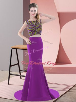 Top Selling Purple Backless Scoop Beading Satin Sleeveless Sweep Train
