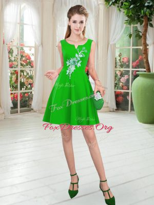Top Selling Green Sleeveless Mini Length Appliques Zipper Dress for Prom