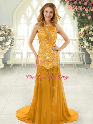 Affordable Gold Sleeveless Lace Backless Homecoming Dress