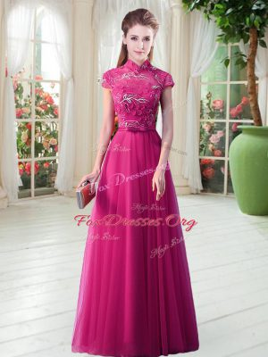 Wonderful Floor Length Hot Pink Prom Evening Gown Tulle Short Sleeves Lace