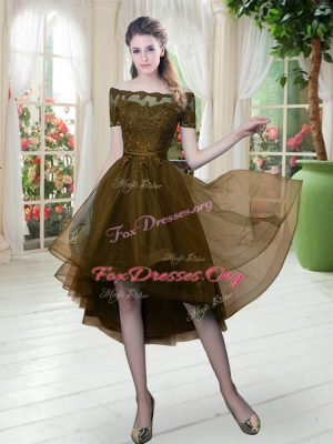 Stylish Brown Lace Up Off The Shoulder Lace Dress for Prom Tulle Short Sleeves