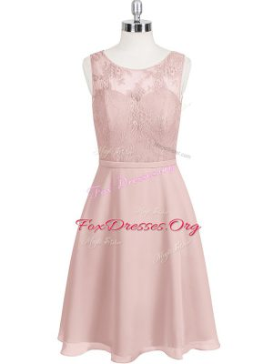 Baby Pink Scoop Clasp Handle Lace Prom Evening Gown Sleeveless