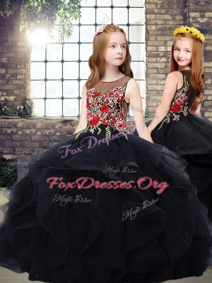 Scoop Sleeveless Kids Formal Wear Floor Length Embroidery and Ruffles Black Tulle