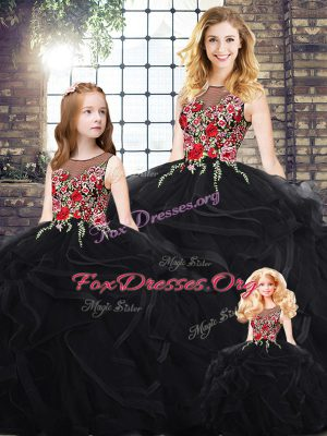 Black Ball Gowns Scoop Sleeveless Floor Length Zipper Embroidery and Ruffles 15th Birthday Dress