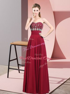 Low Price Chiffon Strapless Sleeveless Zipper Beading Evening Dress in Red