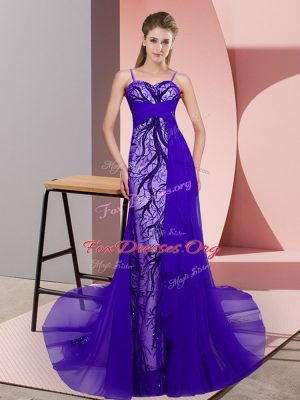Romantic Purple Spaghetti Straps Neckline Beading and Lace Evening Dress Sleeveless Zipper
