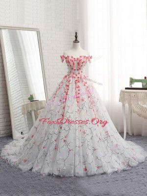 Dazzling White 15 Quinceanera Dress Tulle Brush Train Sleeveless Appliques