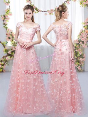 Floor Length Empire Cap Sleeves Pink Bridesmaids Dress Lace Up