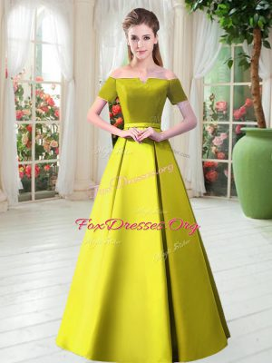 Off The Shoulder Short Sleeves Prom Dress Floor Length Belt Yellow Green Satin