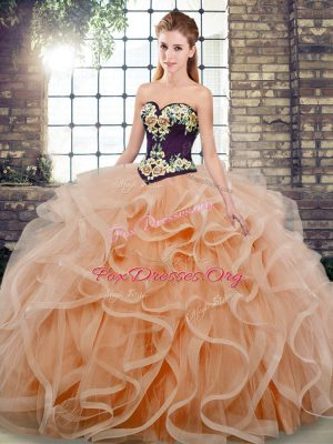 Fitting Peach Ball Gowns Sweetheart Sleeveless Tulle Sweep Train Lace Up Embroidery and Ruffles Quinceanera Dresses