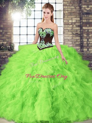 Sleeveless Floor Length Beading and Embroidery Lace Up Sweet 16 Dresses with