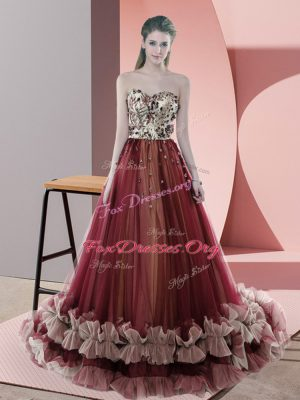 Perfect Red Prom Gown Prom and Party and Military Ball with Beading Sweetheart Sleeveless Sweep Train Lace Up