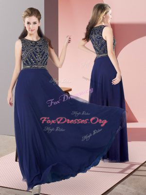 Traditional Navy Blue Chiffon Zipper Prom Gown Sleeveless Floor Length Beading