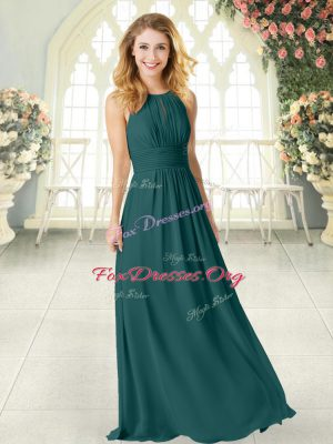 Modern Peacock Green Prom Gown Prom and Party with Ruching Scoop Sleeveless Zipper