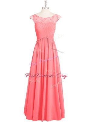 Pink Cap Sleeves Lace Floor Length Evening Dress