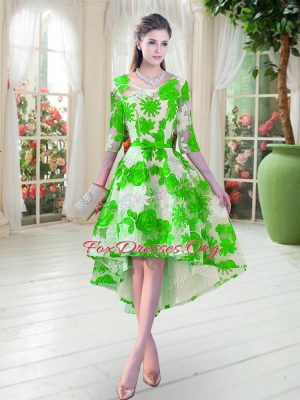 Wonderful Green Scoop Neckline Belt Homecoming Dress Half Sleeves Lace Up
