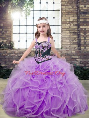 Floor Length Lavender Kids Formal Wear Tulle Sleeveless Embroidery and Ruffles