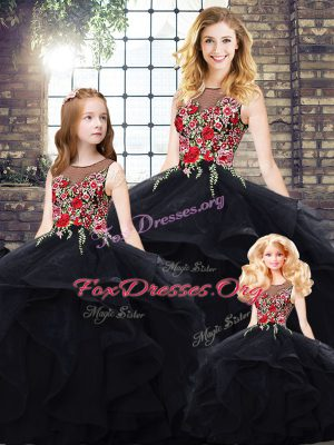 Fantastic Black Sleeveless Tulle Lace Up 15 Quinceanera Dress for Sweet 16 and Quinceanera