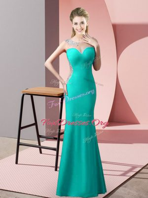 Captivating Floor Length Zipper Prom Dress Turquoise for Prom and Party and Military Ball with Beading