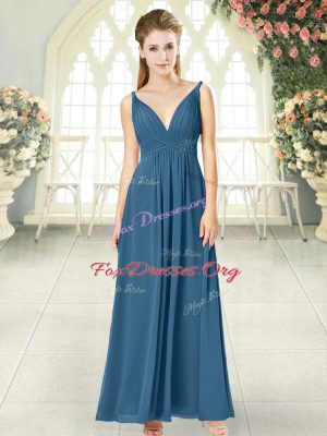 Low Price Blue Chiffon Backless Prom Party Dress Sleeveless Ankle Length Ruching