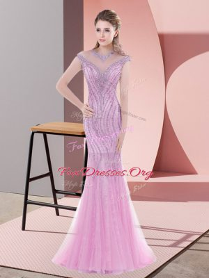 Gorgeous Mermaid Cap Sleeves Pink Prom Evening Gown Sweep Train Lace Up