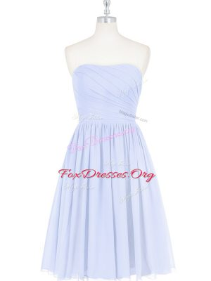 Light Blue Sleeveless Chiffon Side Zipper Prom Dress for Prom and Party and Military Ball