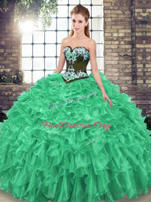 Pretty Green Organza Lace Up Sweetheart Sleeveless Quinceanera Gown Sweep Train Embroidery and Ruffles
