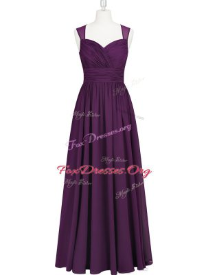 Sleeveless Chiffon Floor Length Zipper Prom Party Dress in Eggplant Purple with Ruching