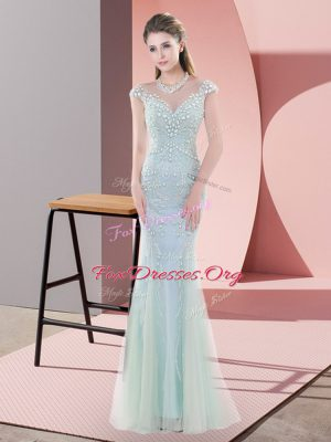 Blue Mermaid Scoop Cap Sleeves Tulle Floor Length Zipper Beading Dress for Prom