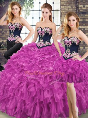 Glittering Floor Length Ball Gowns Sleeveless Fuchsia 15 Quinceanera Dress Lace Up