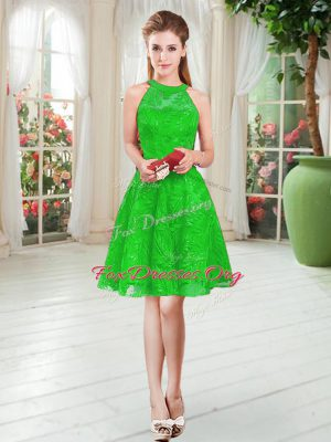 Fantastic Green Sleeveless Knee Length Lace Zipper Prom Dresses