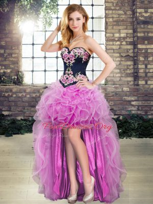 Vintage Sweetheart Sleeveless Lace Up Dress for Prom Lilac Organza