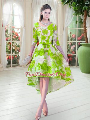 Noble Lace Lace Up Homecoming Dress Half Sleeves High Low Belt