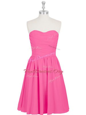 Sumptuous Hot Pink Empire Chiffon Sweetheart Sleeveless Ruching and Pleated Mini Length Zipper