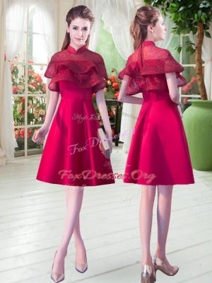 Red A-line Satin High-neck Short Sleeves Lace Knee Length Zipper Dress for Prom