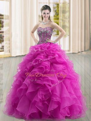Great Fuchsia Ball Gowns Beading and Ruffles 15 Quinceanera Dress Lace Up Organza Sleeveless Floor Length