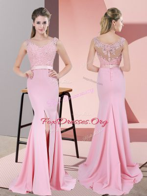 Baby Pink Prom Dress Prom and Party and Military Ball with Lace and Appliques V-neck Sleeveless Sweep Train Zipper