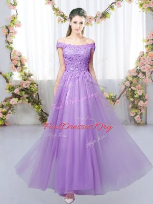 Flare Lavender Lace Up Quinceanera Court of Honor Dress Lace Sleeveless Floor Length