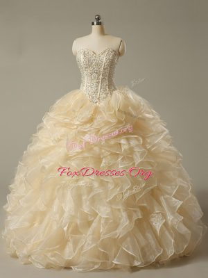 Champagne Lace Up Quinceanera Dresses Beading and Ruffles Sleeveless Floor Length