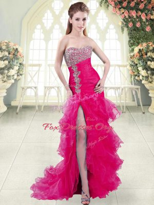 Fuchsia Prom Evening Gown Organza Brush Train Sleeveless Beading and Ruffled Layers
