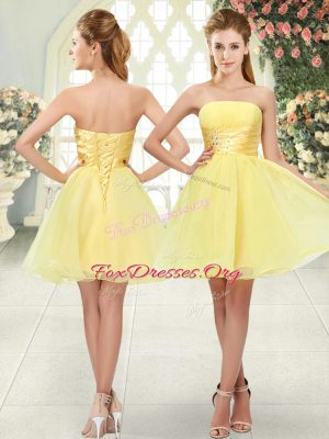 Strapless Sleeveless Organza Prom Gown Beading Lace Up