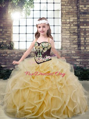 Floor Length Ball Gowns Sleeveless Champagne Little Girls Pageant Dress Lace Up