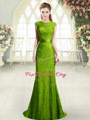 Adorable Green Homecoming Dress Scoop Sleeveless Sweep Train Backless